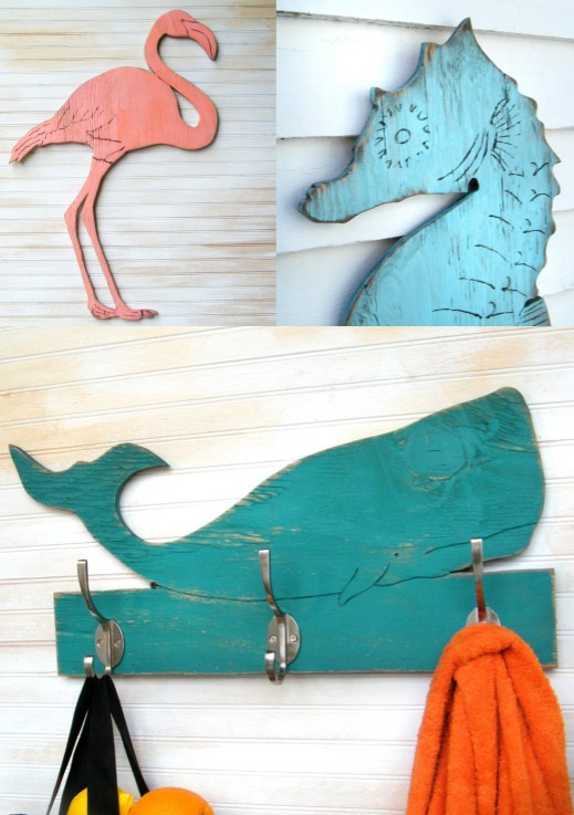 Wood Seahorse Wall Decor Art