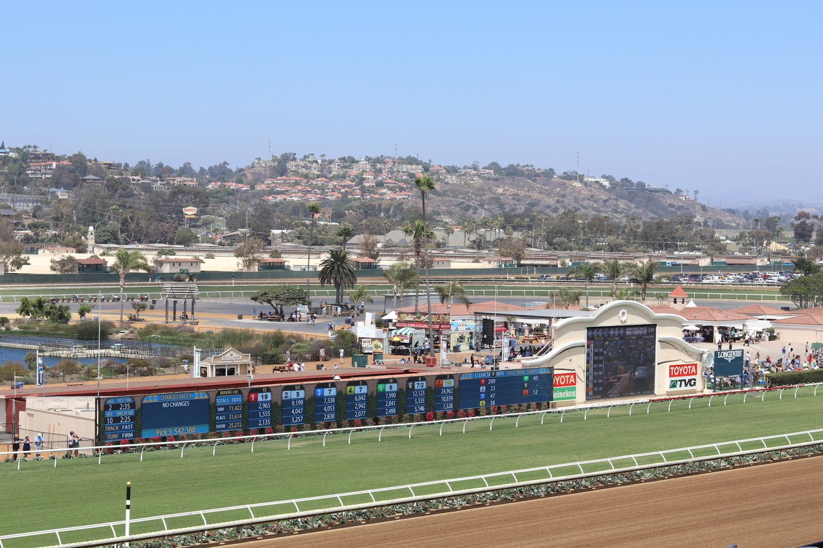 Opening Day at the Del Mar Racetrack 2016, Opening Day at the Del Mar Racetrack 2016 view, stretch run view of racetrack