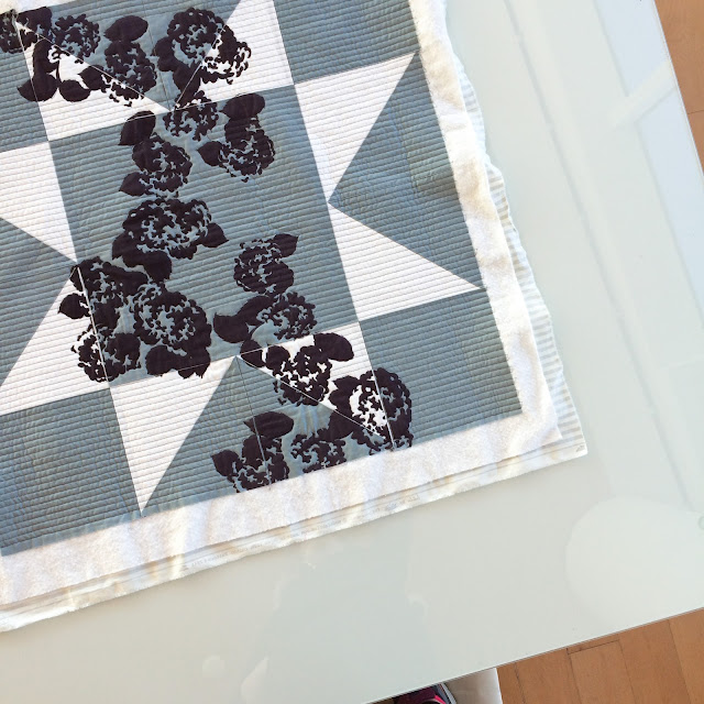 Modern Screen-printed Grey and White Wall Quilt | Lovely and Enough