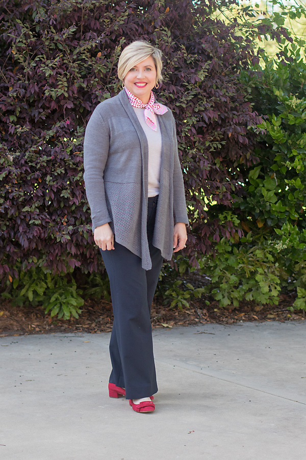 grey cardigan work outfit