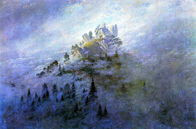 Caspar David Friedrich painting of a foggy mountain