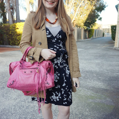 @awayfromblue instagram spring business casual office outfit floral wrap dress pink bag