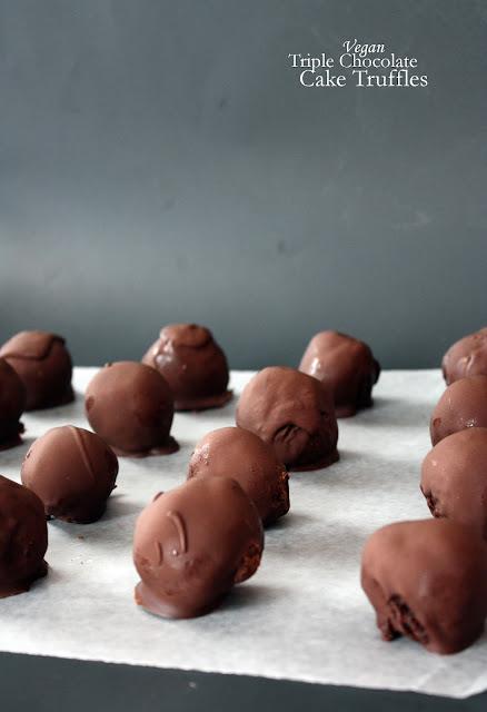 vegan triple chocolate cake truffles