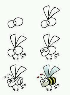 Cara menggambar hewan lebah