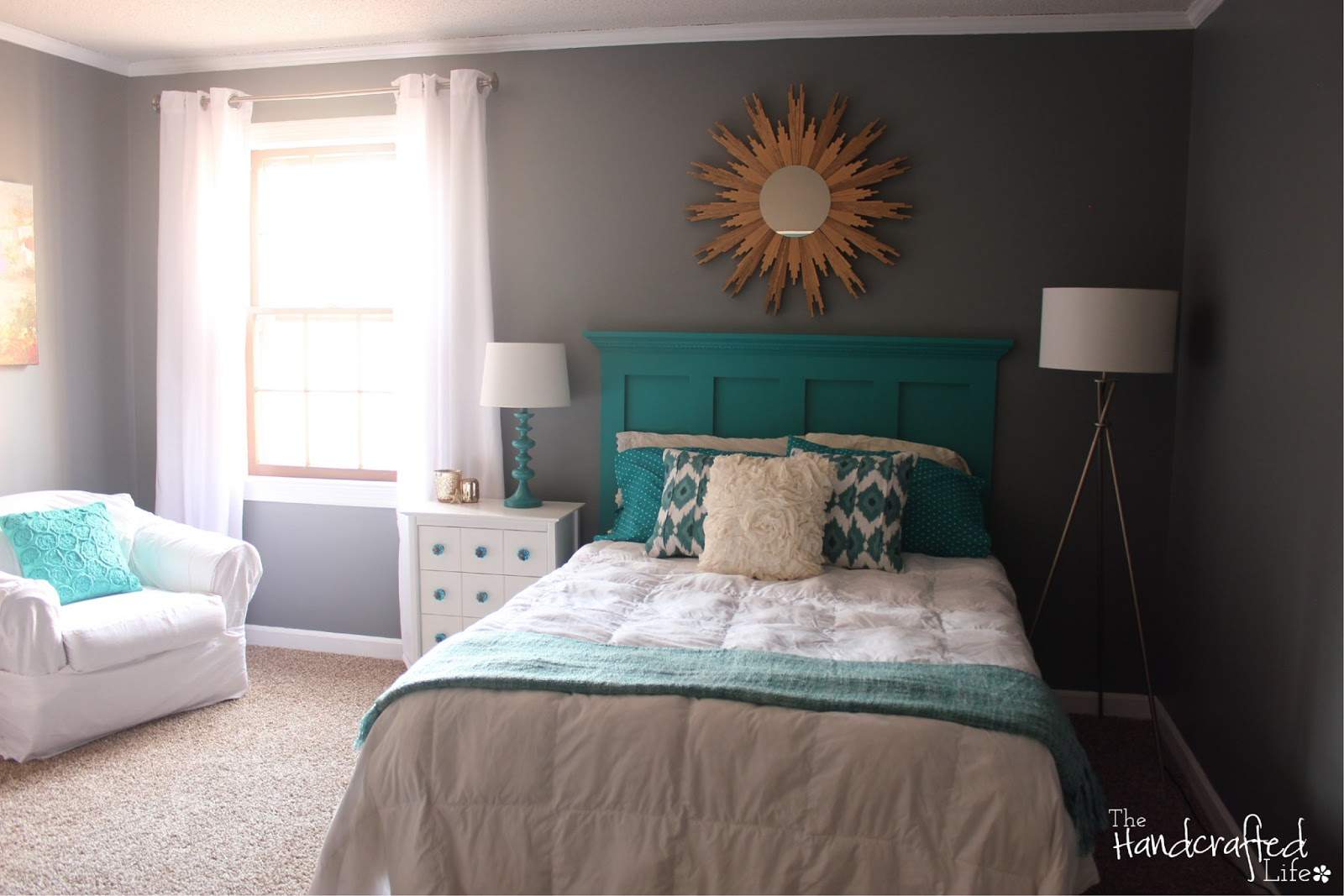 The Handcrafted Life   Teal  White and Grey Guest Bedroom Reveal Teal  White and Grey Guest Bedroom Reveal