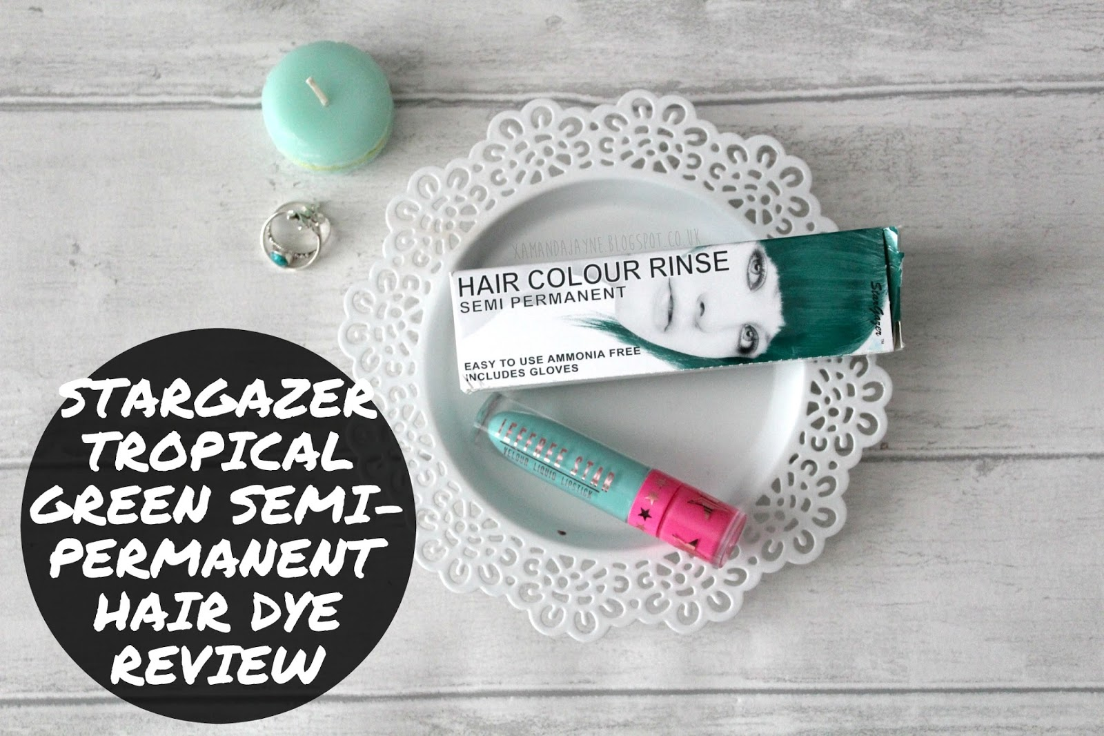 stargazer tropical green semi-permanent hair dye, review, swatches, unbleached hair