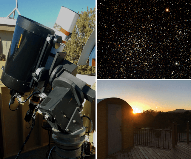 "ATEO-2: 5"" Refractor and 11"" Imaging Telescopes with Open Clusters M38 and NGC 1907 and   Omega Observatory located at SkyPi Remote Observatory that houses ATEO-2 at Sunrise."