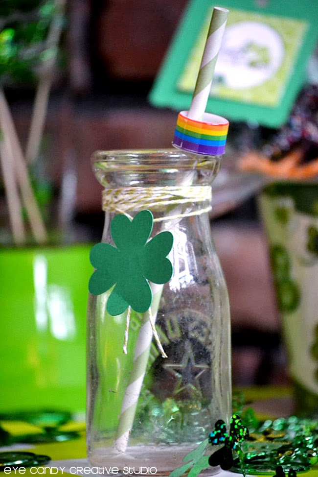 shamrock party, milk bottles, st pattys day decor