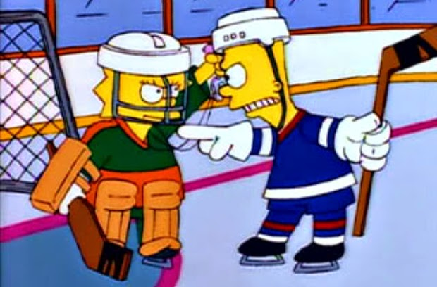 Bart y Lisa Simpson pelenado en Hockey