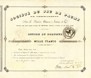 share certificate from the Société du Jeu de Paume, dated  1840, a tennis precursor