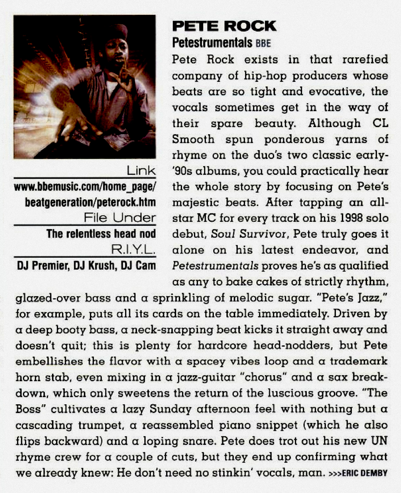 Pete Rock 'PeteStrumentals' CMJ New Music Monthly Album Review