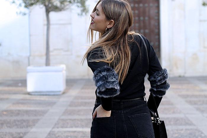 falda vaquera y faux fur