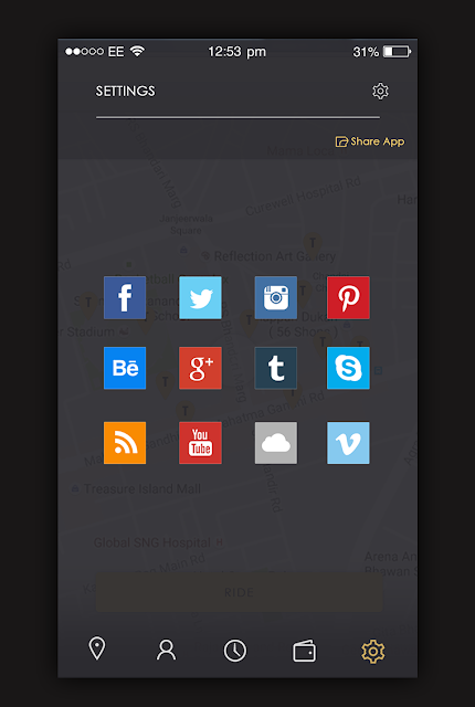 Taxi App Share App Screen