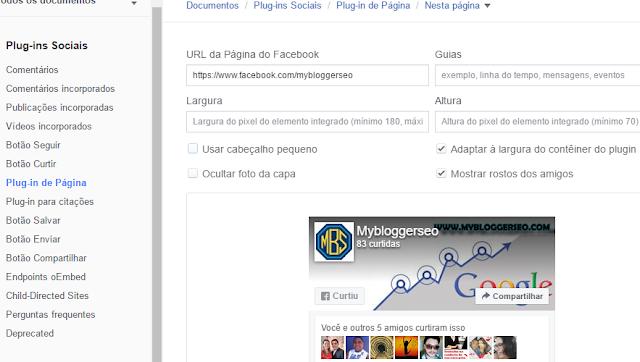 resolvendo erro ao adicionar facebook fanpage no blogger