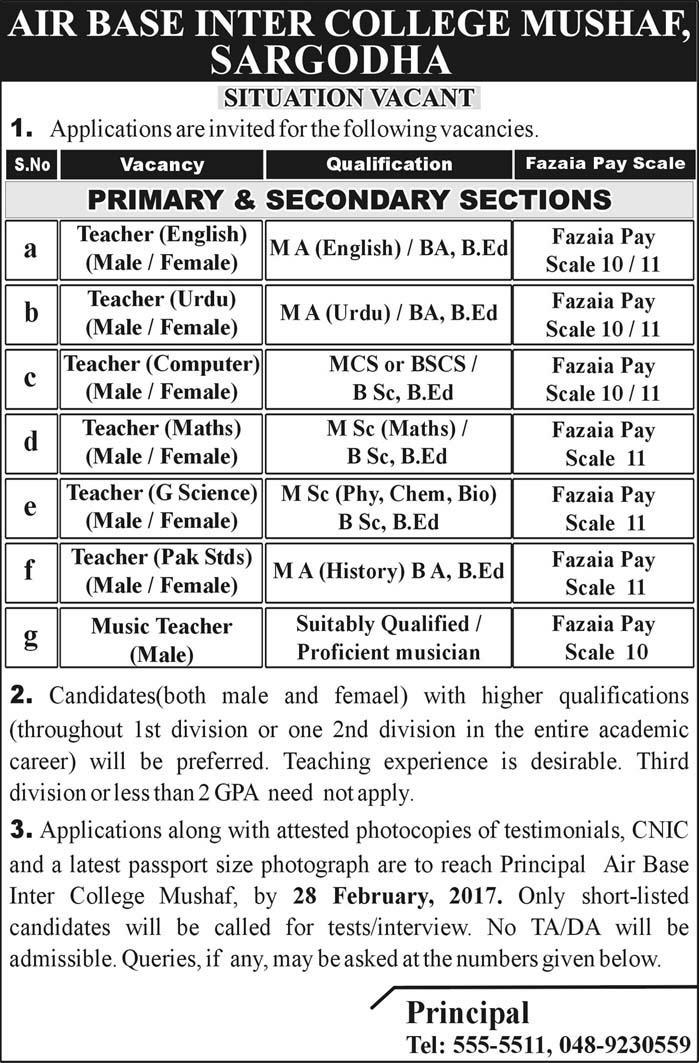Teaching Jobs in Sargodha Air Base Inter College Jobs