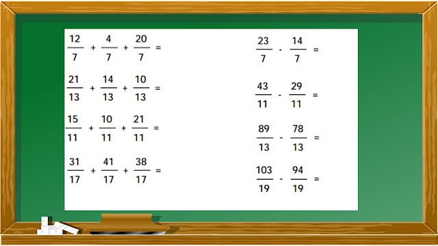evaluacion de suma y resta de fraccionarios