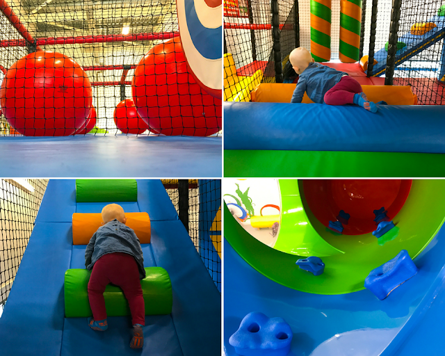 A collage showing: big bouncy balls and swinging targets, a soft bridge, steps up and a tunnel slide with climbing grips up so you can climb up it