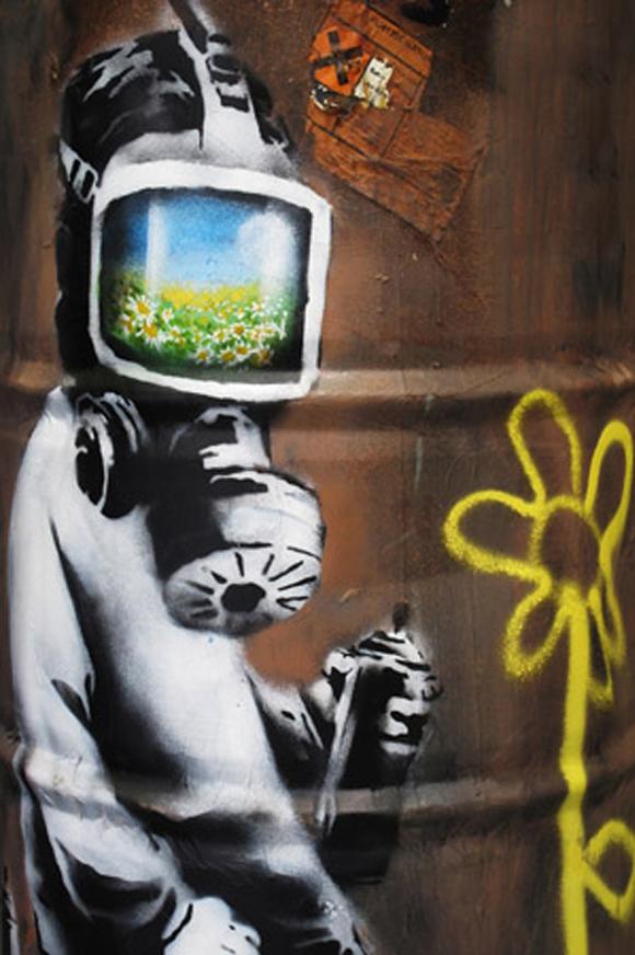 39d23071f46a Bansky: Sunflower Field Gas Mask Girl Black And White   BlueisKewl