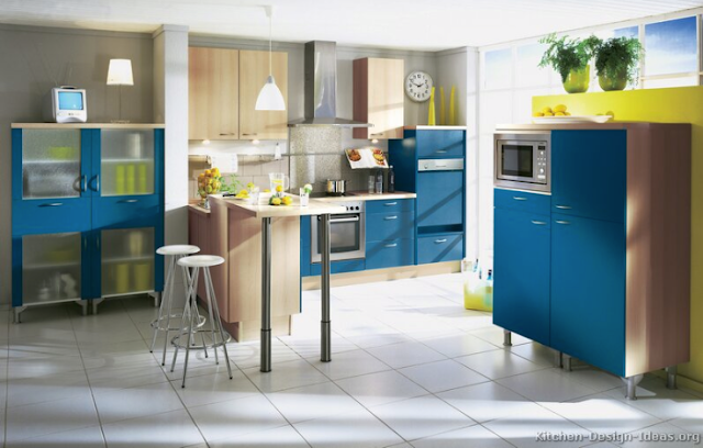 Elegant and Awesome European Blue Kitchen Cabinets Design Ideas 2016