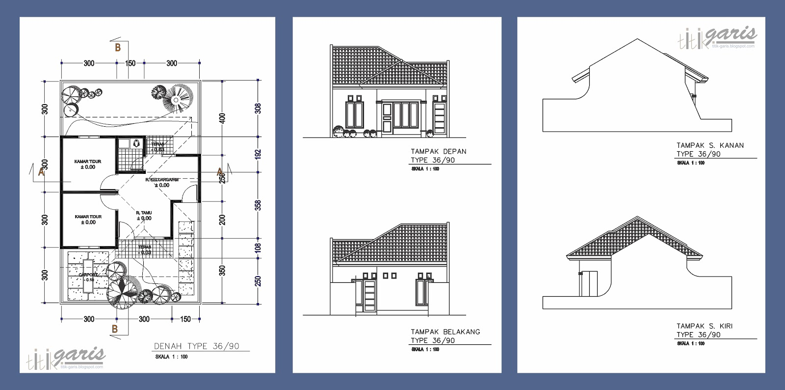 Kumpulan gambar denah dan tampak berbagai macam tipe rumah