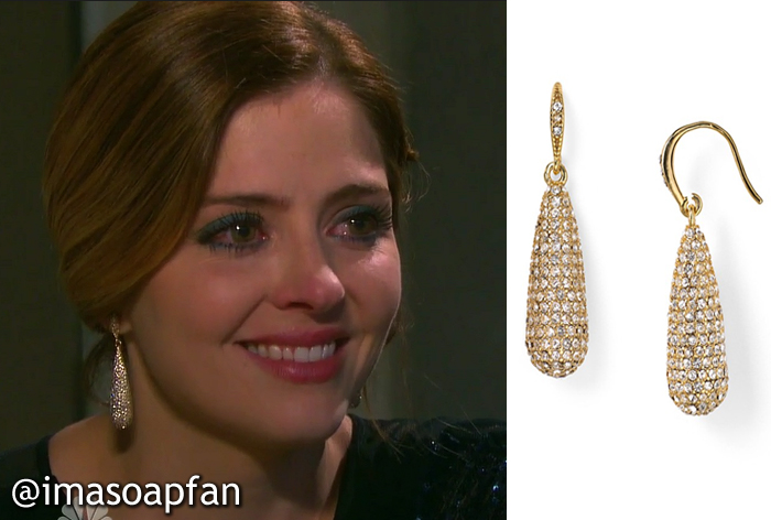 During These Scenes Theresa Was Wearing Gold Pave Teardrop Earrings By Carolee Her Also Come In Silver For Info On S Sequined Blue Dress