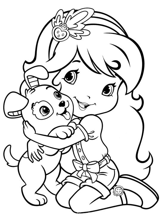 Tranh tô màu bé gái và chó cún