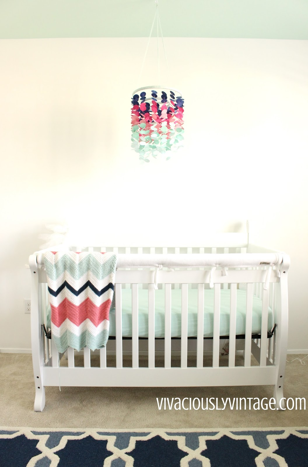 Mint, Coral, & Navy Ombre Baby Mobile