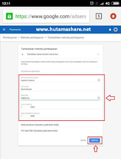 setting metode transfer kawat google adsense ke rekening bank indonesia