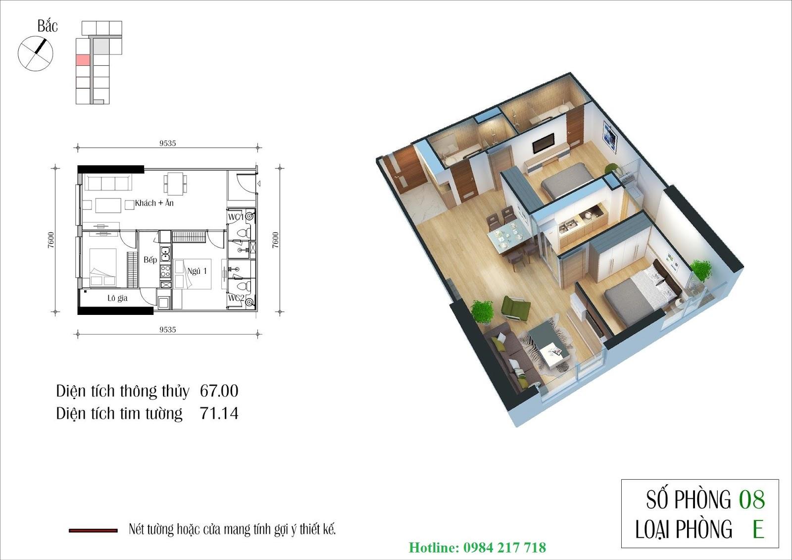 thiết kế chi tiết Tòa CT1 Eco Winter căn hộ 1208 Chung Cu ECOGREEN