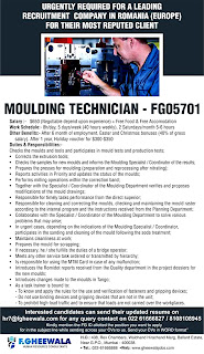 Moulding Technician Romania job Vacancy text image