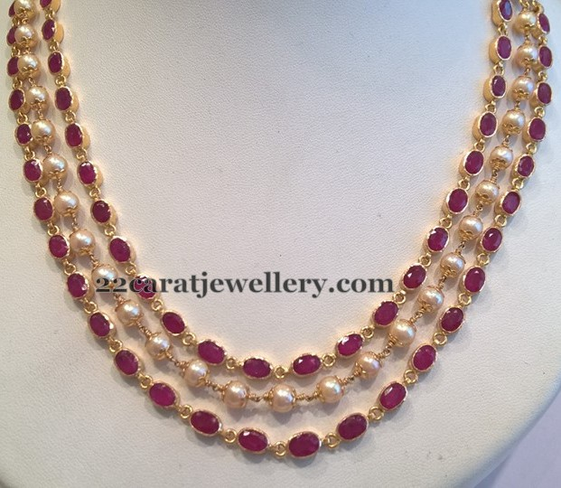 3 Line Ruby Necklace Jewellery Designs