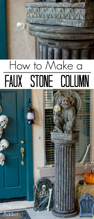 easy tutorial how to make a faux stone column for halloween
