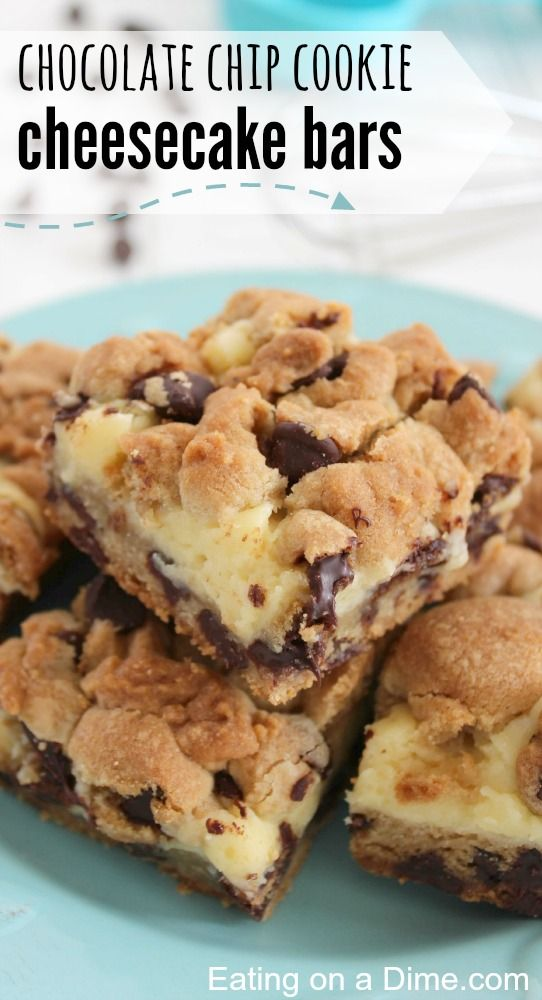 Need a an easy dessert - make these chocolate chip cookie cheesecake bars. YUM! They are the perfect marriage of chocolate chip cookies and cheescake!