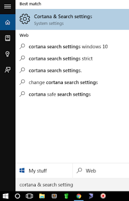 Change Cortana Search Setting
