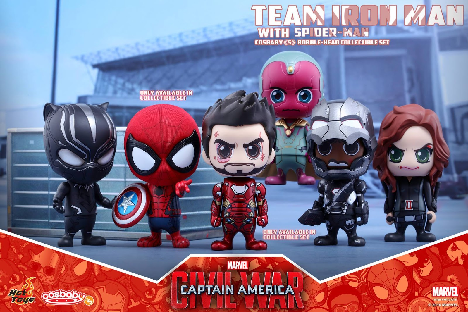 53d7c105c1566 Captain America: Civil War Team Iron Man with Spider-Man Cosbaby Box Set by  Hot Toys