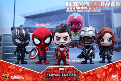 Captain America: Civil War Team Iron Man Cosbaby Collectible Figure Box Set by Hot Toys - Spider-Man with Captain America's shield, Tony Stark in Iron Man Mark XLVI Armor, James Rhodes in Battle Damaged War Machine Mark III Armor, Black Widow, Black Panther & The Vision