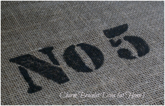 French stencilled burlap table runner No.5