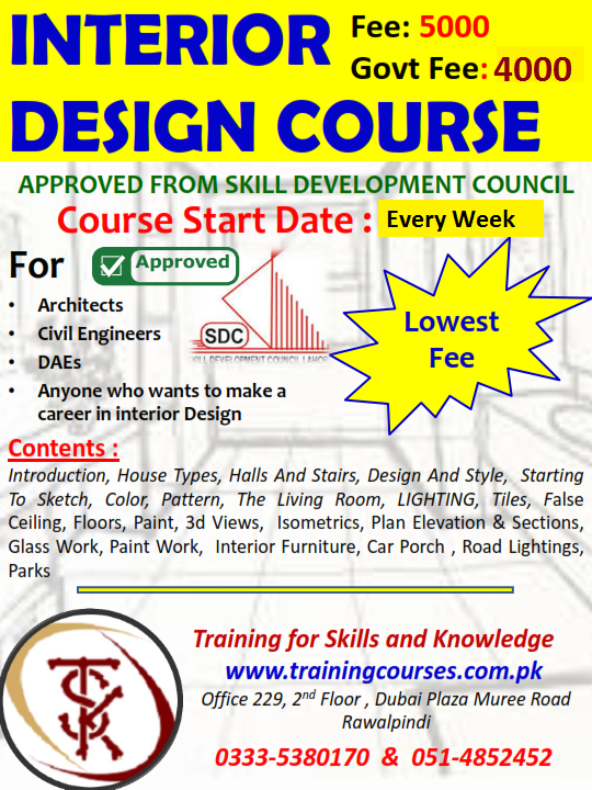 Interior Design Courses In Rawalpindi Islamabad