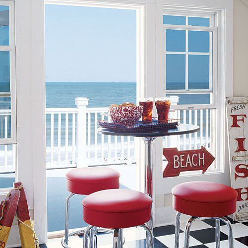 Red Coastal Kitchen Idea