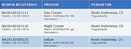 aura glow asli cream pemutih wajah aman terdaftar di bpom
