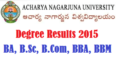Nagarjuna University ANU Degree Results 2016