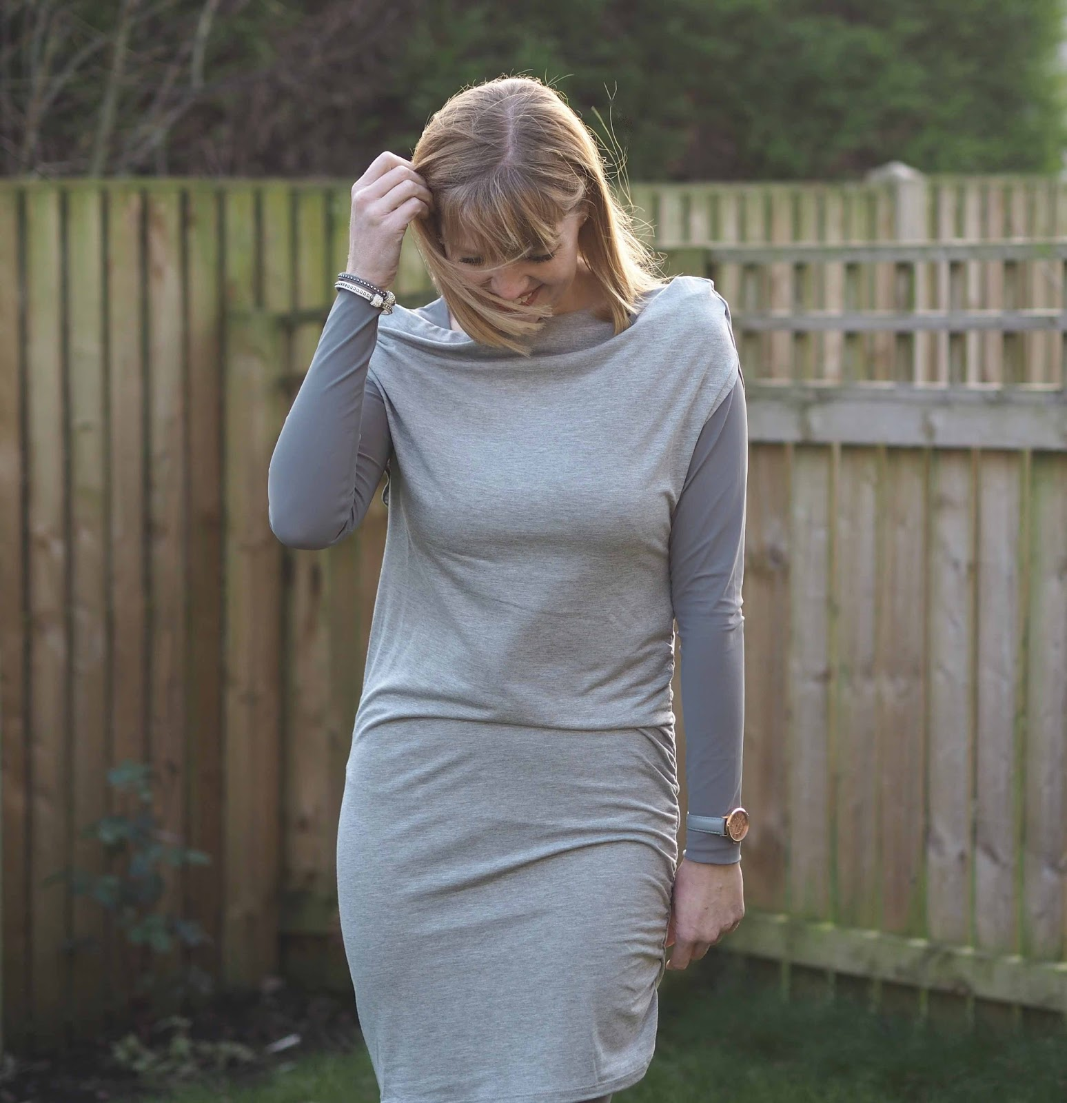Hope fashion grey leggings, grey top, grey drape top, over 40 fashion