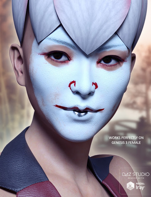 Extreme Closeup: Kabuki Inspired Face Paints for Genesis 3 Male