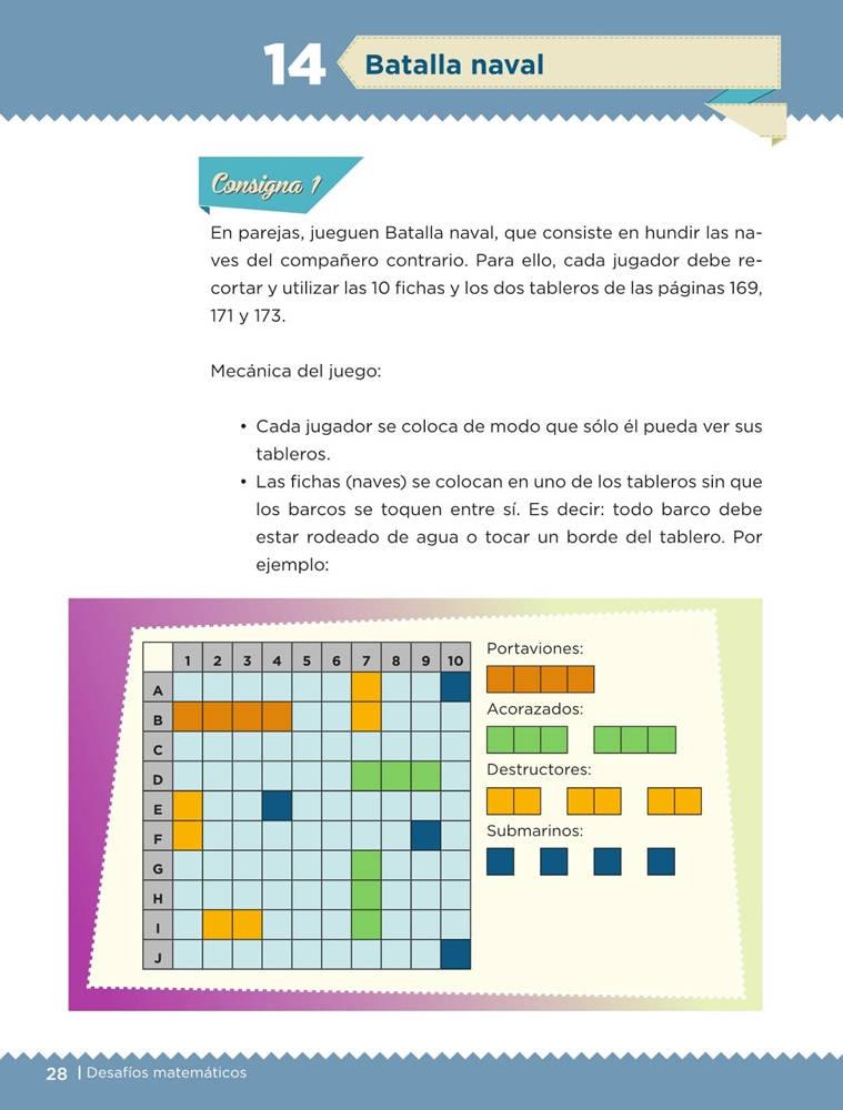 Libro de textoDesafíos MatemáticosBatalla navalSexto gradoContestado