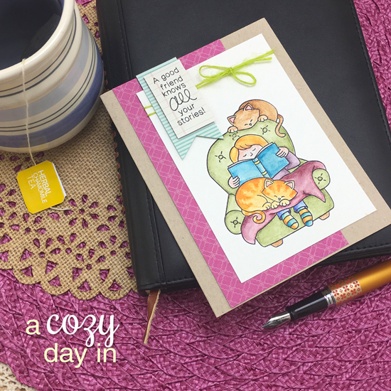 Cozy Reading with Cats Card by Jennifer Jackson | A Cozy Day In Stamp set by Newton's Nook Designs #newtonsnook