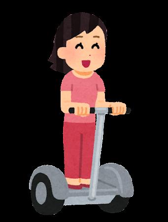 立ち乗り二輪車に乗る人のイラスト(女性)