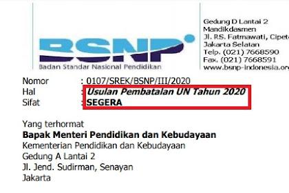 Surat Pembatalan UN 2020 Usulan BSNP ke Mendikbud