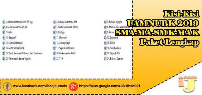 Ujian Akhir Maarif NU Berbasisi Komputer akan dilaksanakan pada  Kisi-Kisi UAMNUBK 2019 SMA-MA-SMK-MAK Paket Lengkap