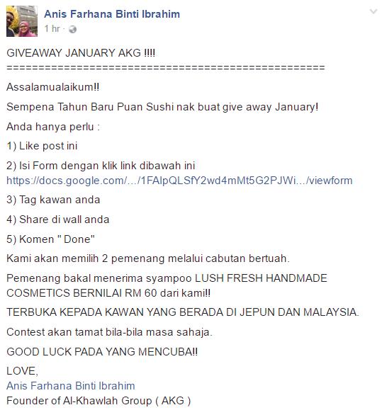 giveaway, al-khawlah group, shaklee, malaysia, jepun, contest, hadiah percuma, facebook,