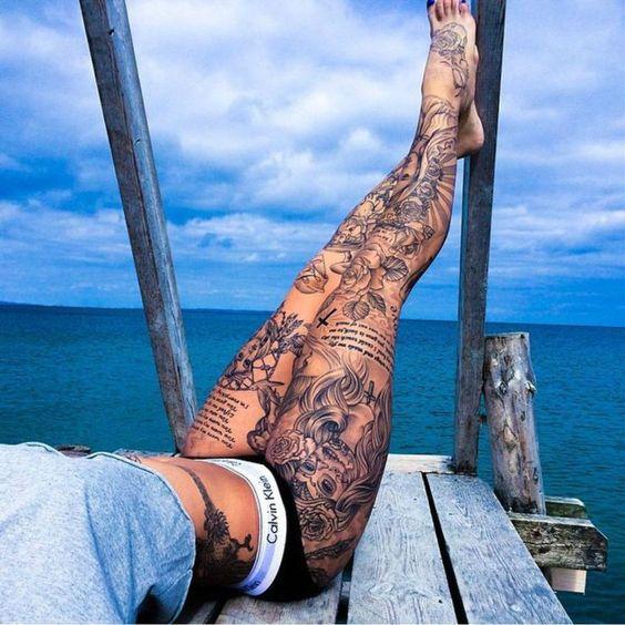 So Hot Leg Gypsy Tattoo For Women